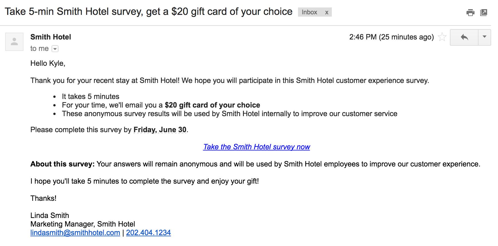 survey invitation email